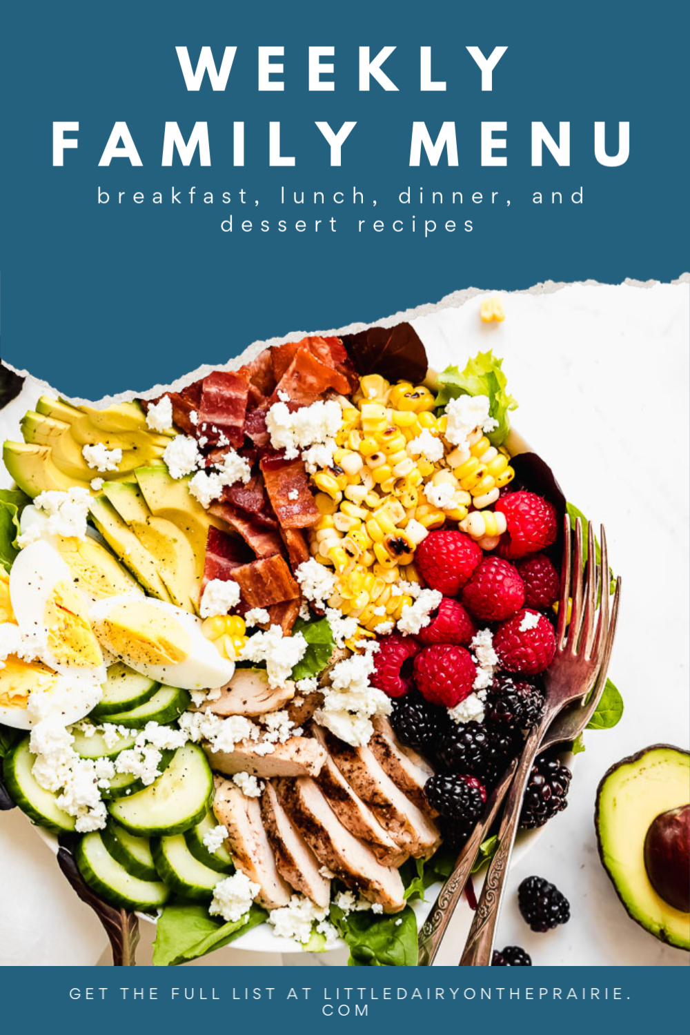 an image with a main dish salad and text