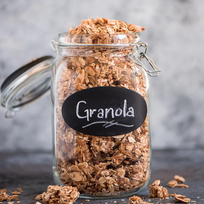 a jar of golden brown granola