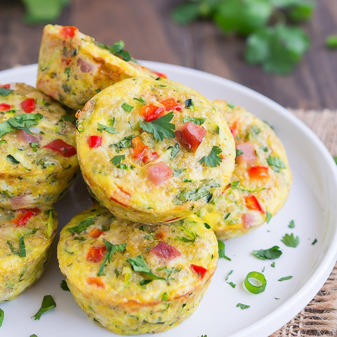 frittata egg muffins with diced red peppers and parsley