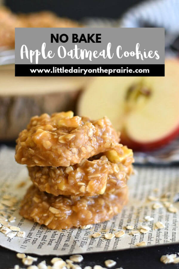 an image with a stack of caramel cookies with oatmeal and apples on a piece of newspaper with a text graphic.
