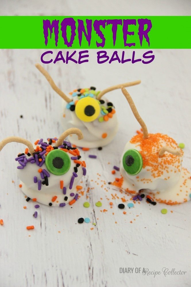cake balls made covered with white chocolate and decorated with candy eye balls and antennas to look like monsters