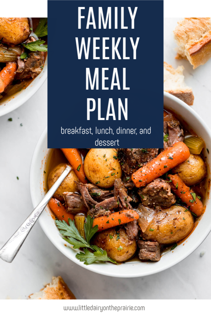a graphic with words and a bowl of easy beef stew in a white bowl