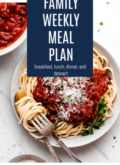an image of spaghetti noodles with marinara sauce and a graphic overlay with text