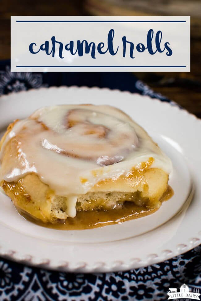 caramel rolls with cream cheese icing and golden brown sauce