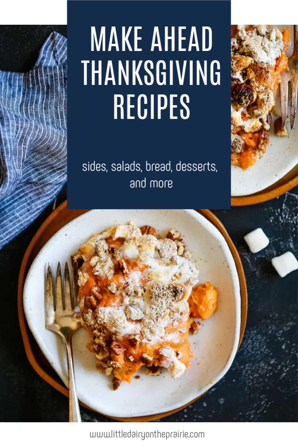 an image with plates of sweet potato casserole topped with crumb topping andwith text graphic