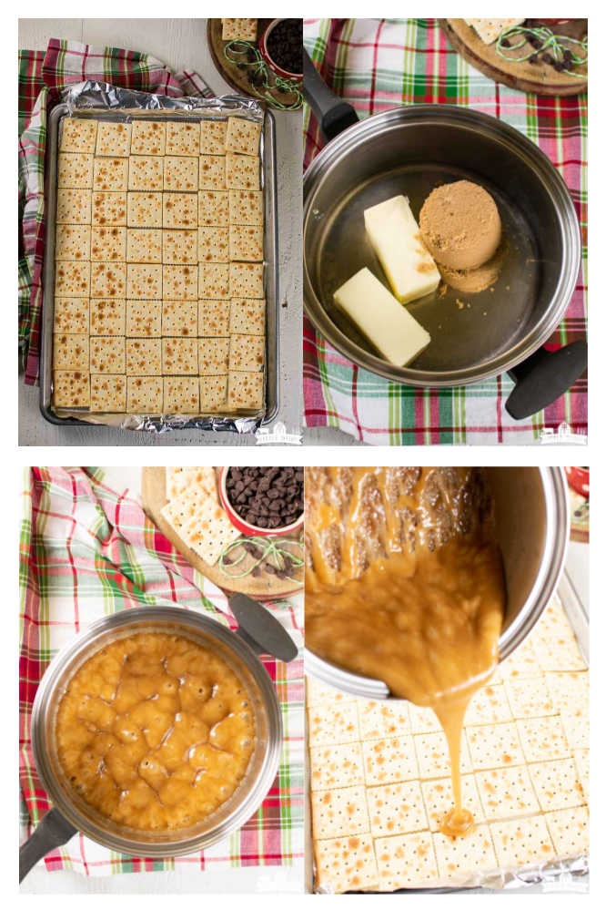 a collage of four images showing how to make saltine cracker candy into Christmas crack