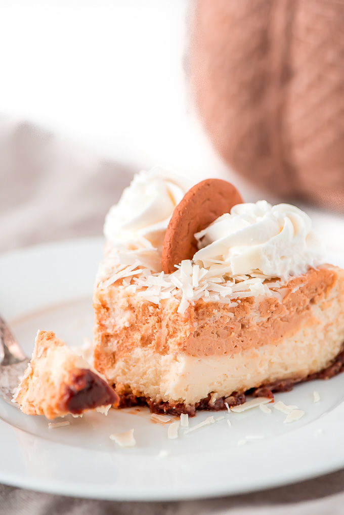 a wedge of cheesecake and pumpkin layered pie with whipped cream and coconut on top