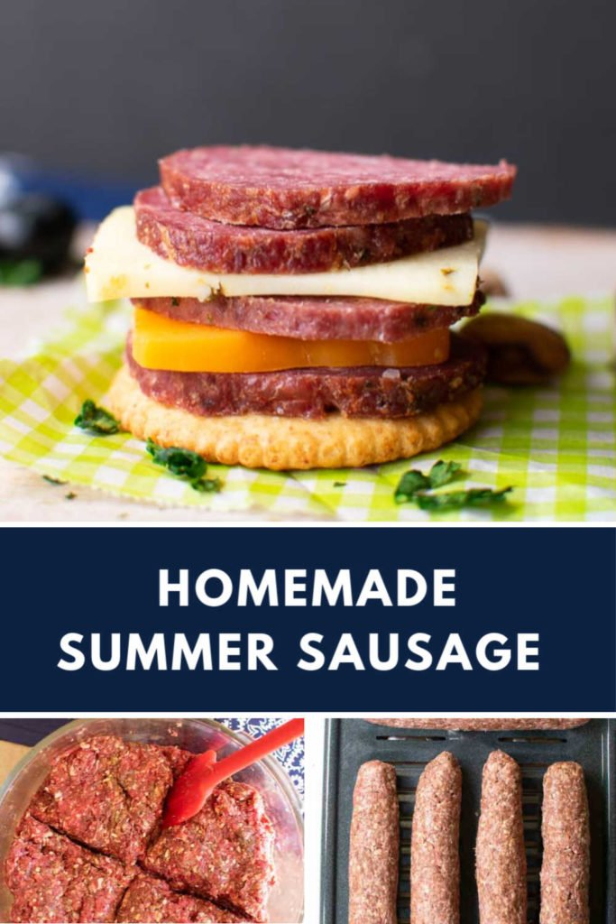 A collage with images of summer sausage and how to make it