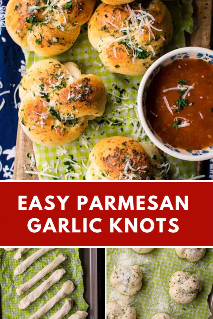 A collage with three images of garlic knots, some baked, some unbaked, showing how to make them.