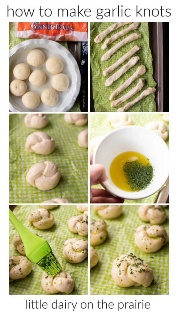 photo collage showing a step by step guide on how to make garlic knots