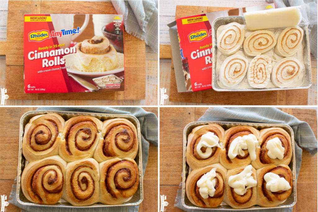 a collage with four images showing how to make Rhodes AnyTime Cinnamon rolls in 30 minutes
