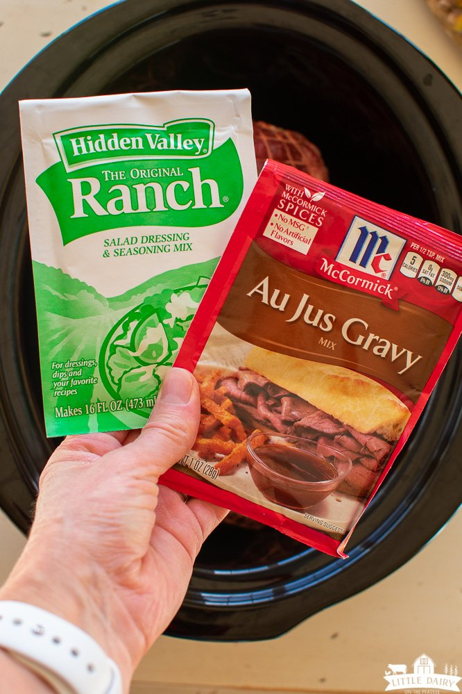 packages of ranch dressing mix and Au Jus gravy mix