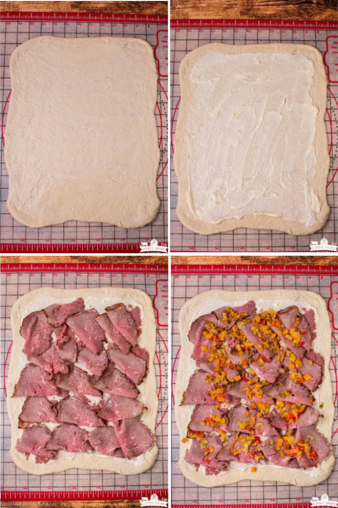 four images giving step by step instructions of how to make stromboli