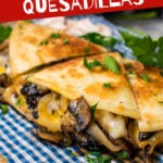 a image of a cooked quesadilla with graphic overlays explaining how easy it is to make