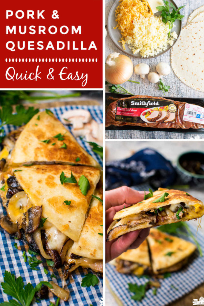 a collage with images showing ingredients needed to make quesadillas, plus showing how to make them