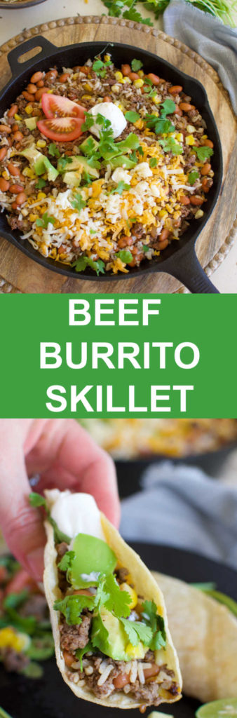 a collage with images of a cast iron skillet with beans and corn