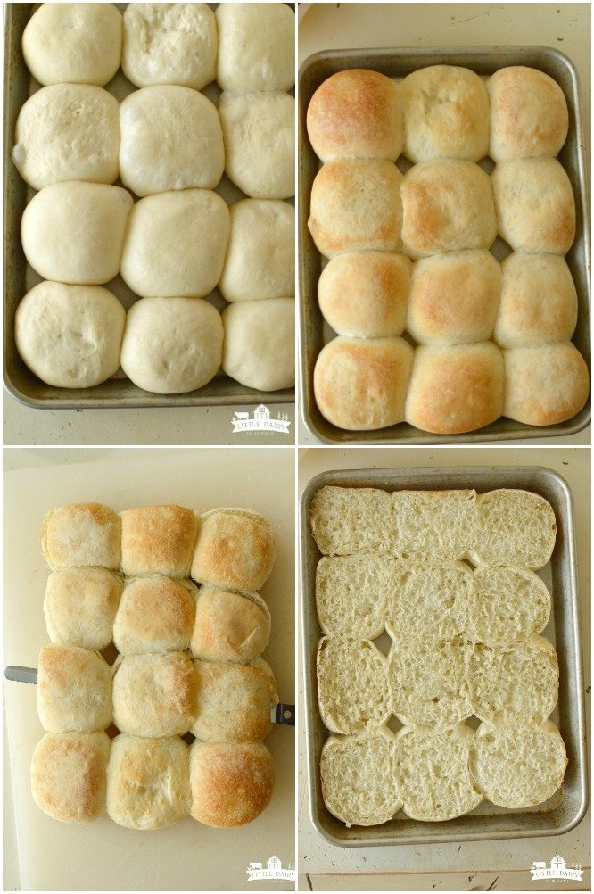 four images showing how to prepare white dinner rolls for making sliders