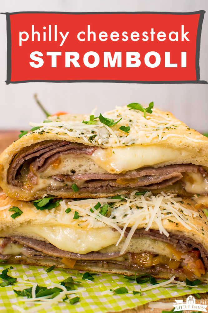 two slices of beef and cheese stromboli stacked on top of each other