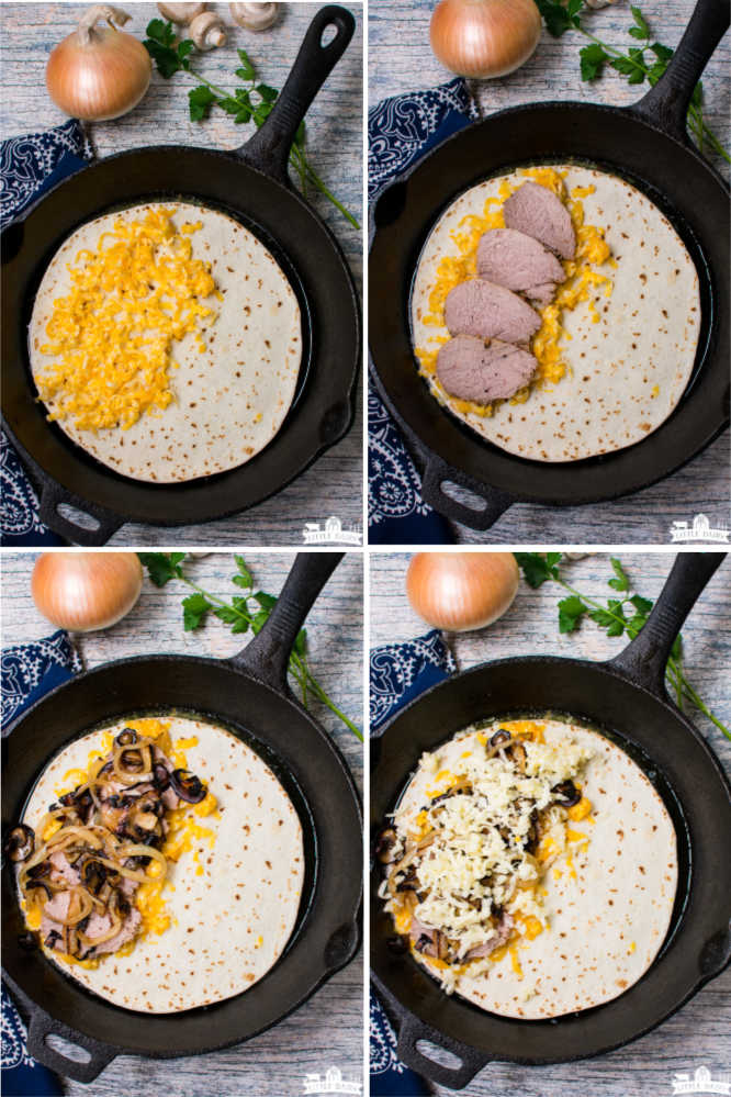 four images showing step by step instruction on how to make a quesadilla with cheese, meat, and vegetables