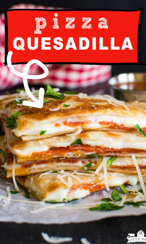 stack of quesadillas wedges with pepperoni and cheese