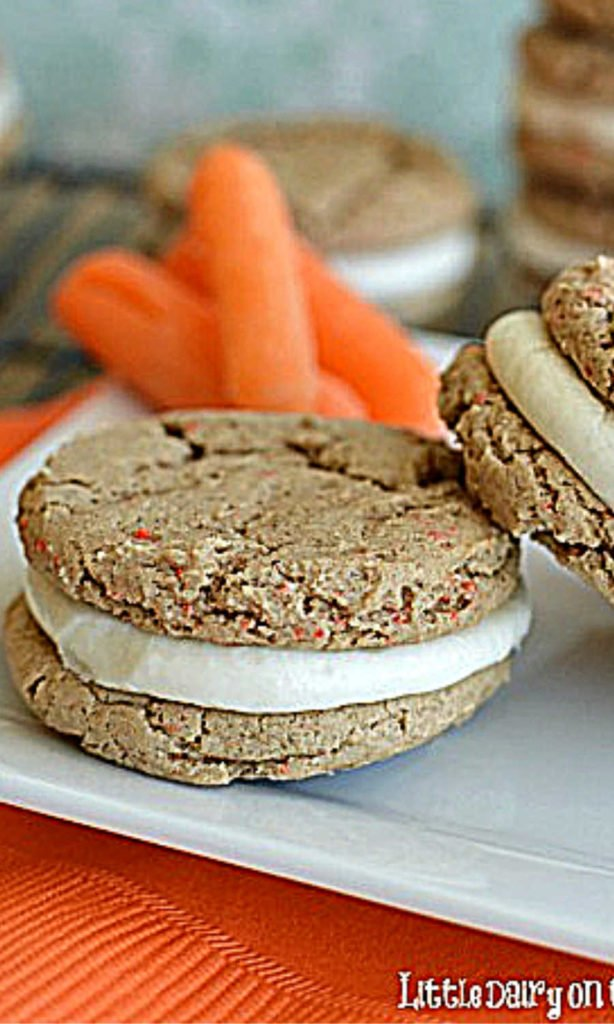 a sandwich cookie with carrots