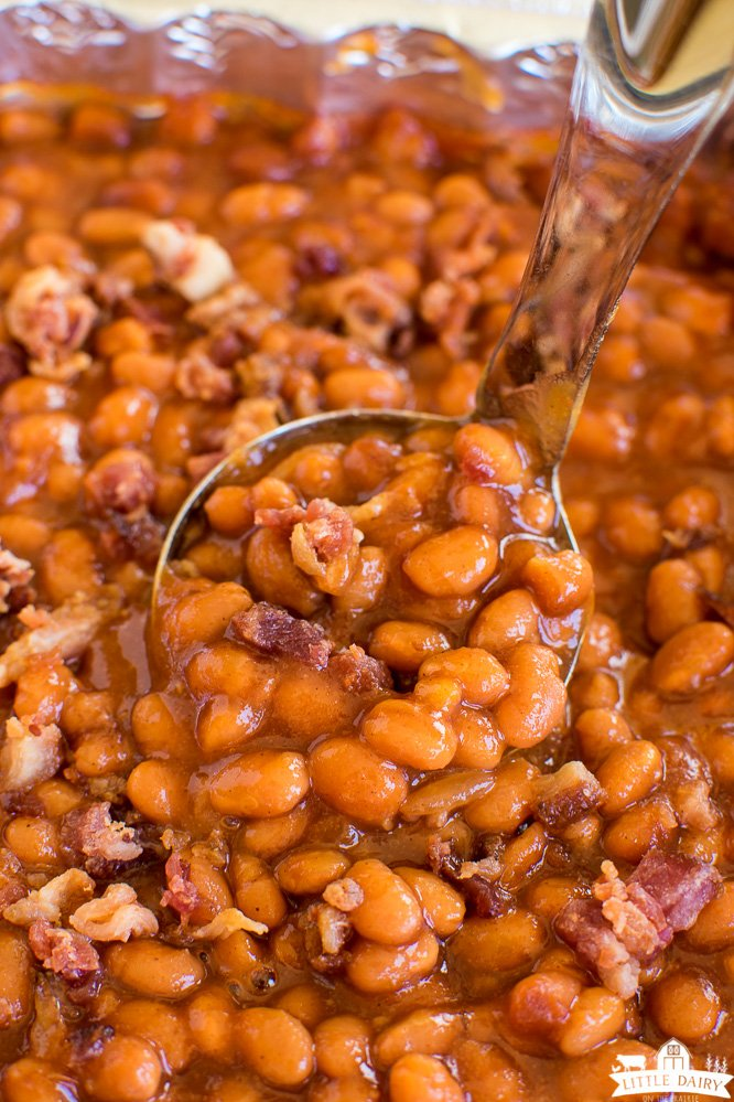 a ladle of smoked baked beans