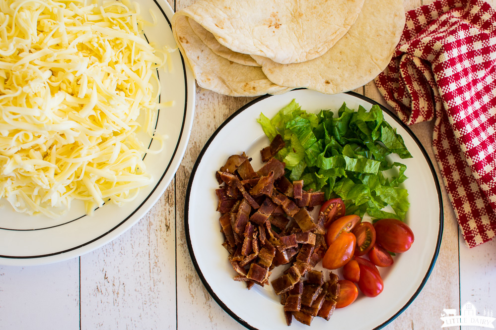 ingredients to make bacon, cheese, and ranch quesadillas