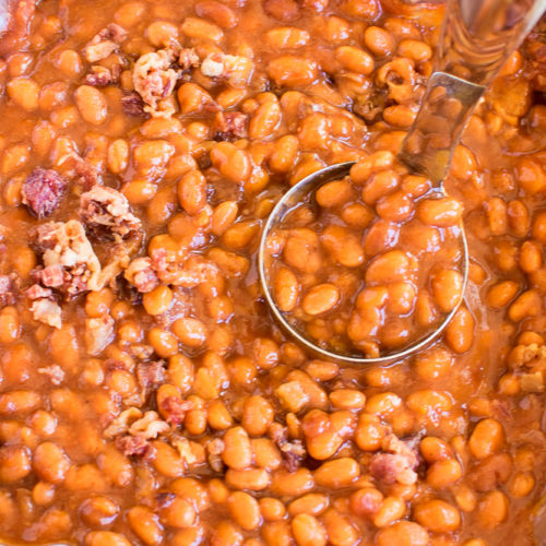 baked beans with pieces of bacon