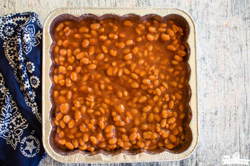 baked beans with bacon ready to be cooked