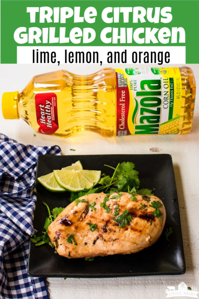 grilled chicken on a black plate with cilantro and limes, a text overlay, and a bottle of corn oil