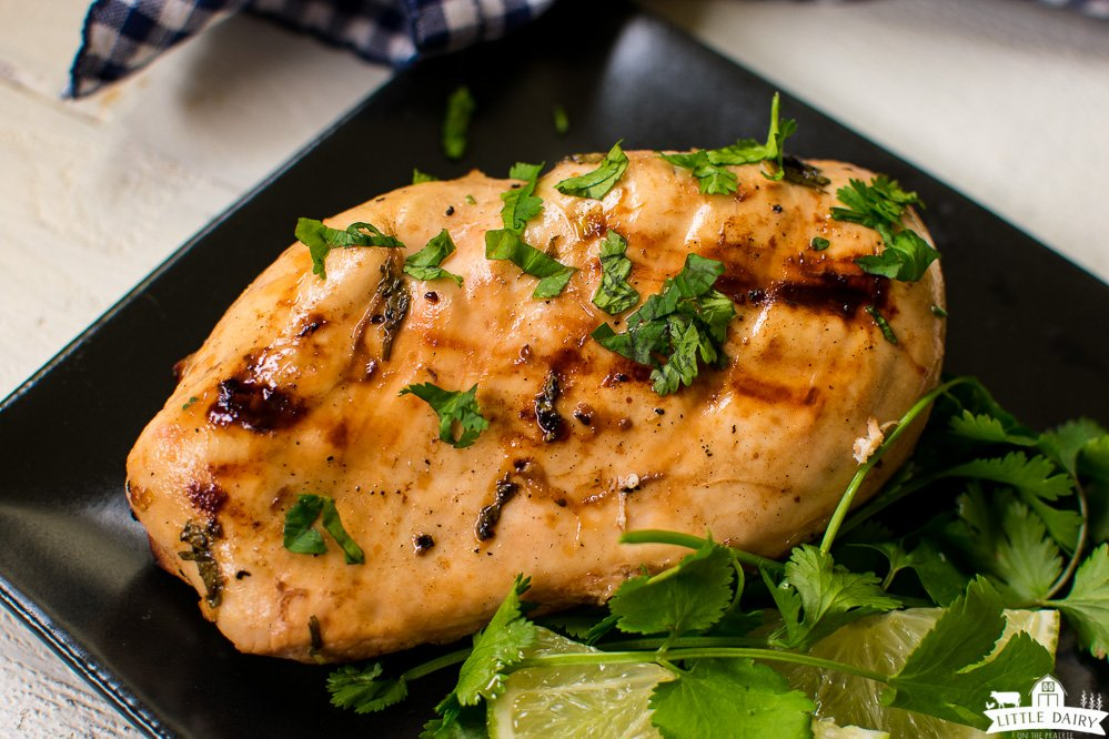 golden brown grilled chicken breast with charred grill marks, garnished with chopped cilantro or parsley