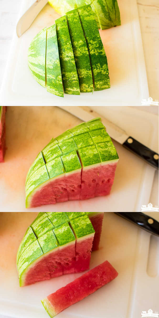 Three images showing how to cut watermelon into sticks. First, cut into slices, then in slices perpendicular, then showing a watermelon stick with rind on.