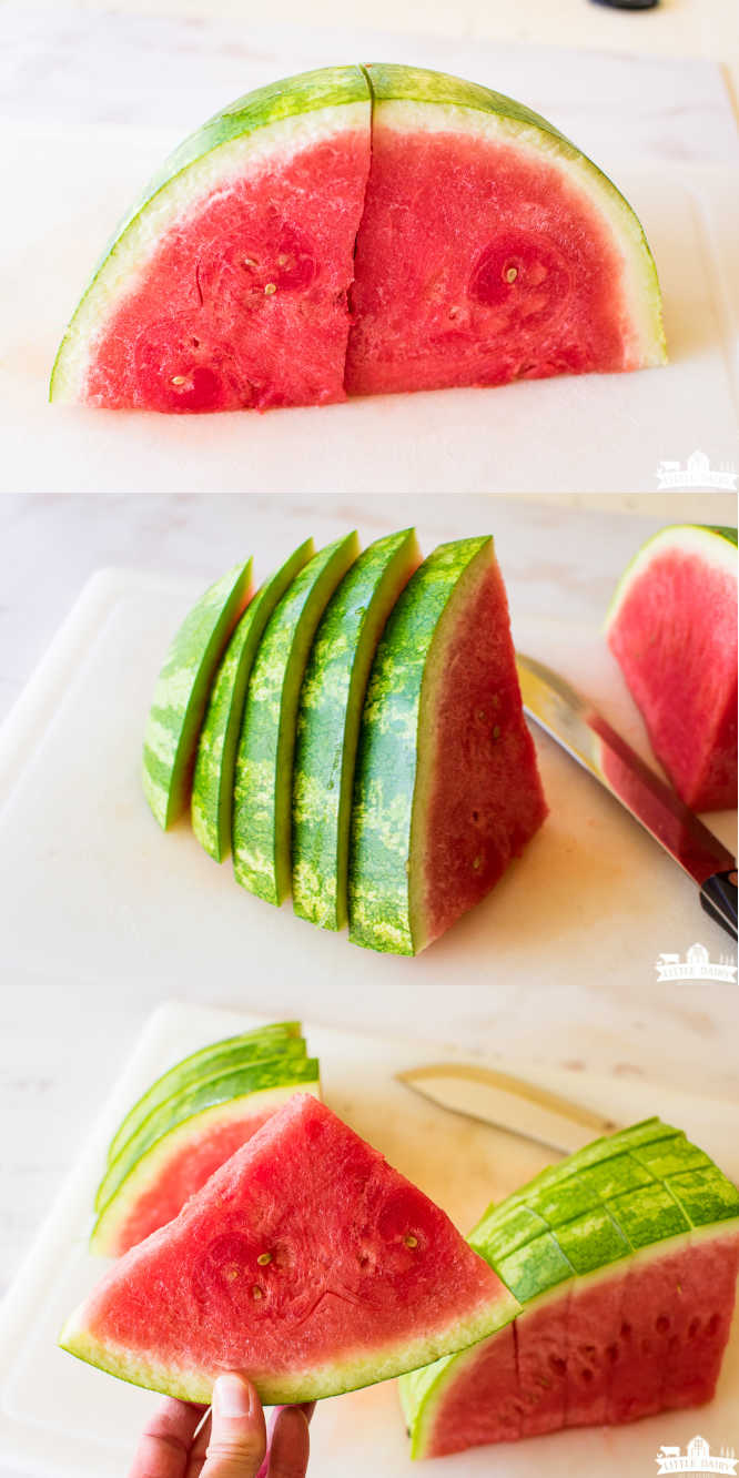 Three images showing step by step how to cut watermelon into triangles. First image shows how to cut watermelon in half, then in quarters, second images shows how to cut into wedges, third image shows a wedge of watermelon with the rind on.