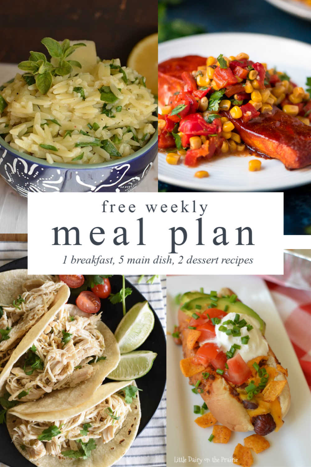 four images- a bowl with spinach orzo, salmon with corn relish, chicken tacos in corn tortilla shells, and a chili dog with sour cream and tomatoes