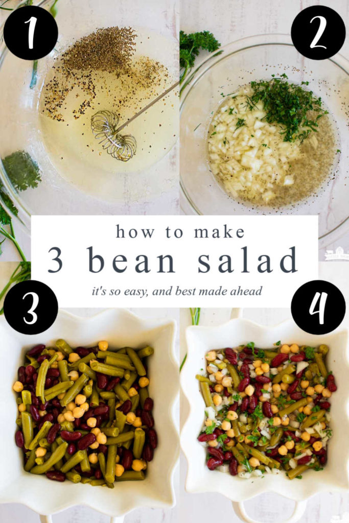 a collage with four images showing how to make bean salad