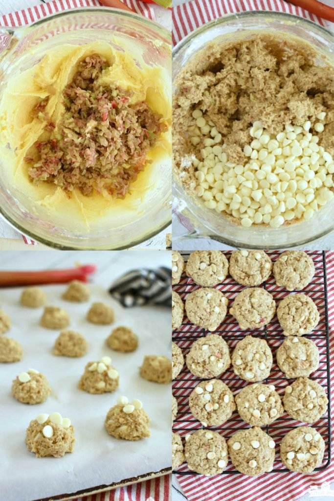 four images showing how to make rhubarb cookies with chocolate chips