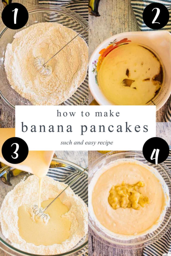 four images showing how to make banana pancakes recipe and a text overlay