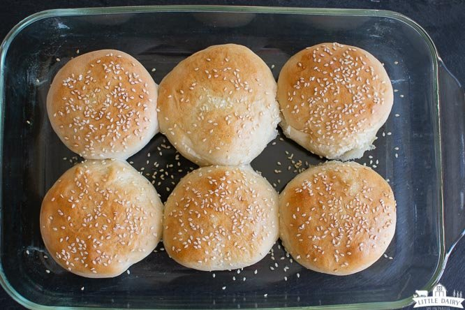 baked homemade hamburger buns with sesame seeds in a glass baking dish