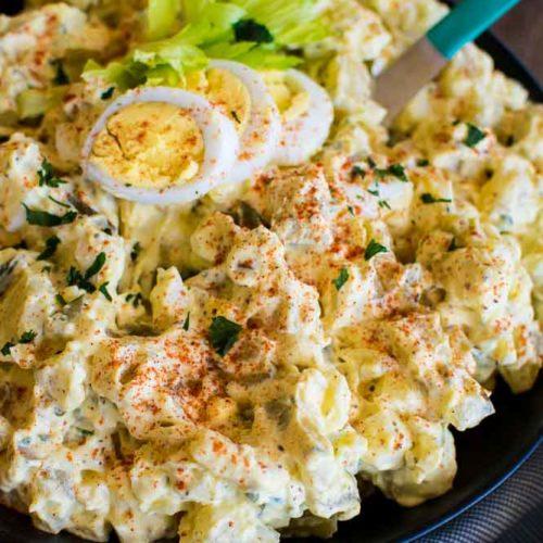 a close-up shot of potatoe salad