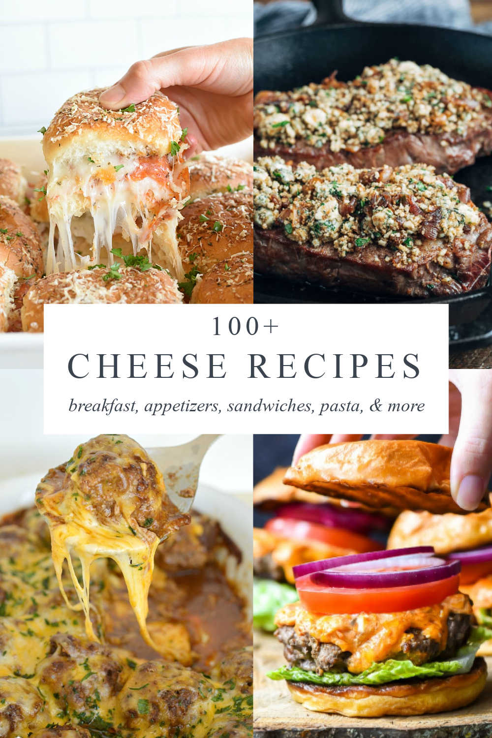 four images of recipes using cheese plus a text overlay