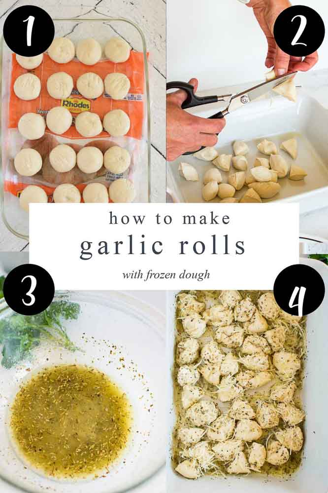 Photos showing how to make Parmesan garlic rolls out of frozen dough