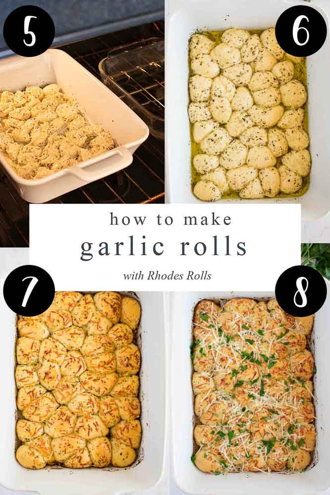 four images showing step by step instructions of how to make parmesan garlic rolls