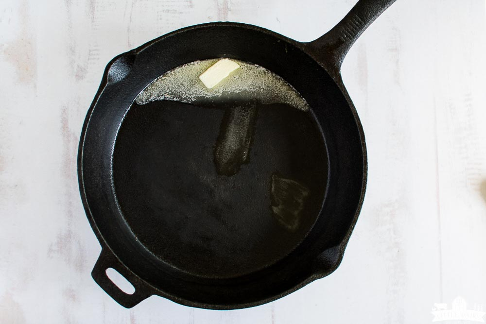 cast iron skillet with butter