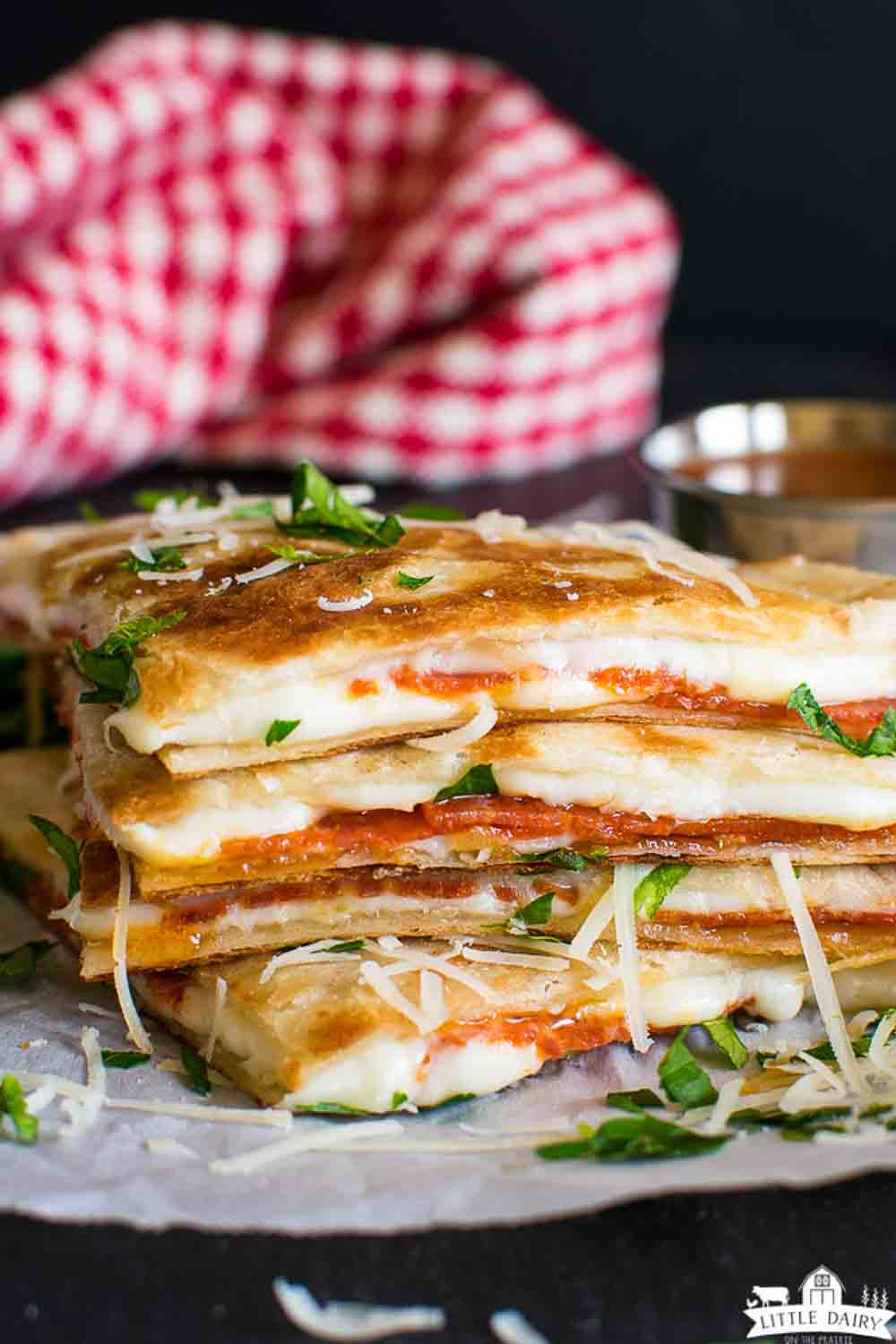 a stack of cooked cheese quesadillas