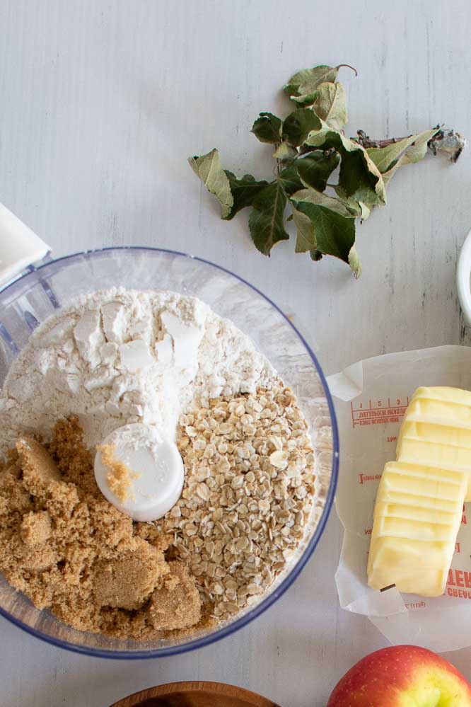 oats, flour, and brown sugar in a food processor with cut up butter and an apple