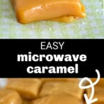 Two images of sea salt microwave caramels.