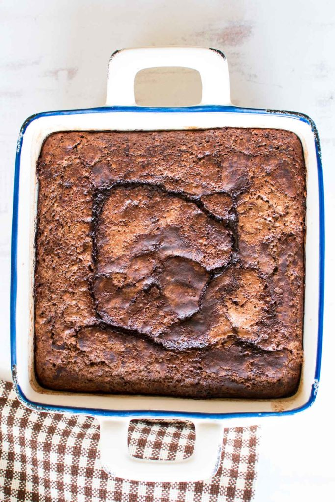 A baked chocolate cake.