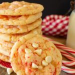 A stack of white chocolate chip peppermint cookies.