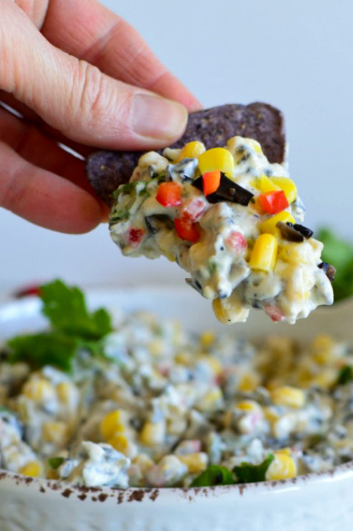 Blue tortilla chip with cream cheese red pepper and corn dip