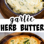 Garlic Butter in a bowl and on toast.